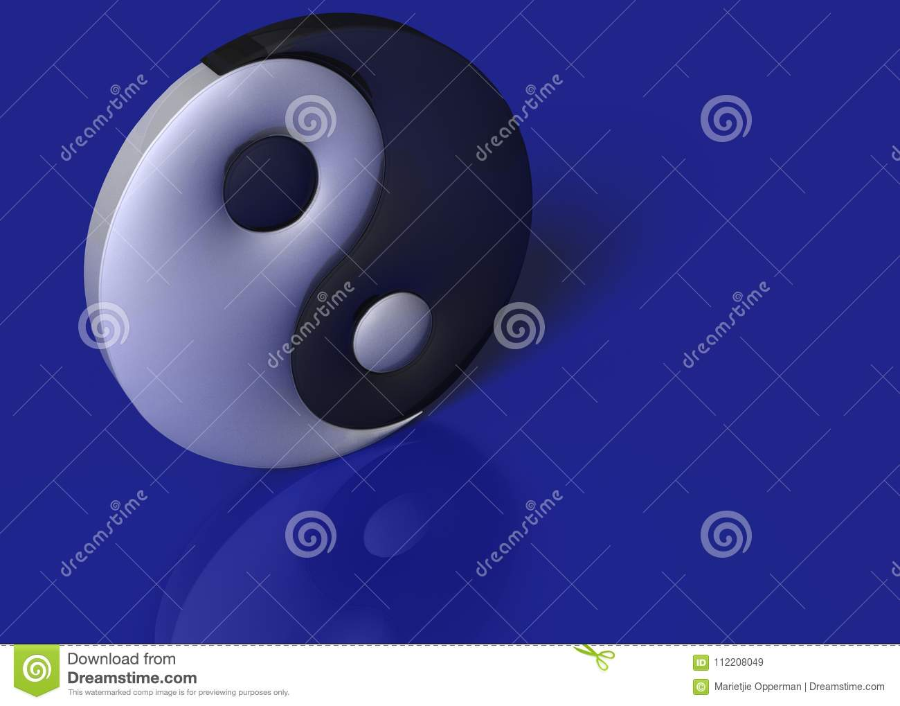 A yin yang sign on a blue background