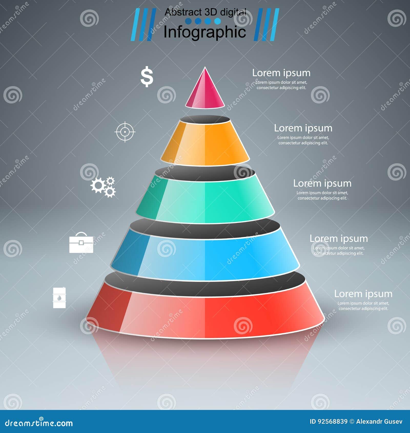 3D illustrazione digitale astratta Infographic