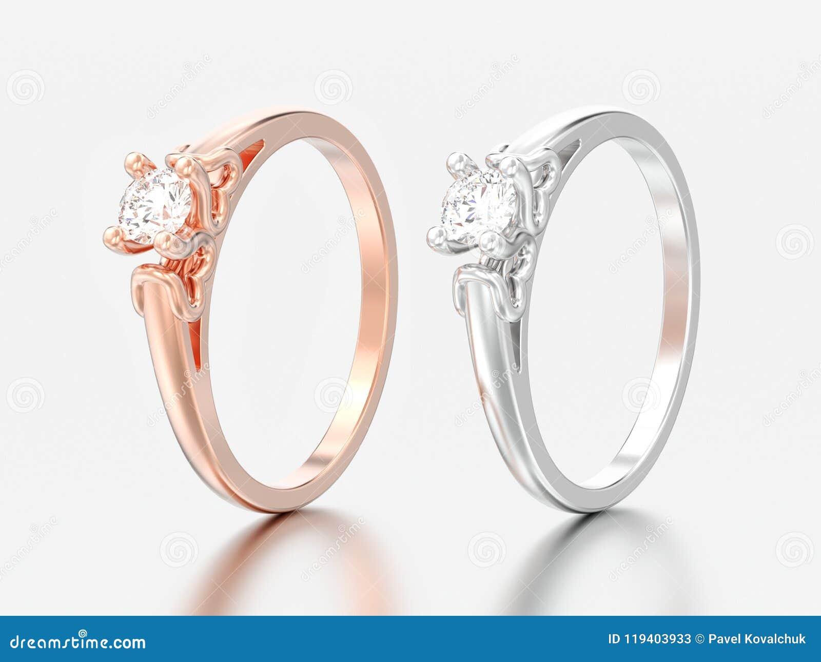 3D illustrazione wedd del solitario dell oro rosa e bianco di due o dell argento