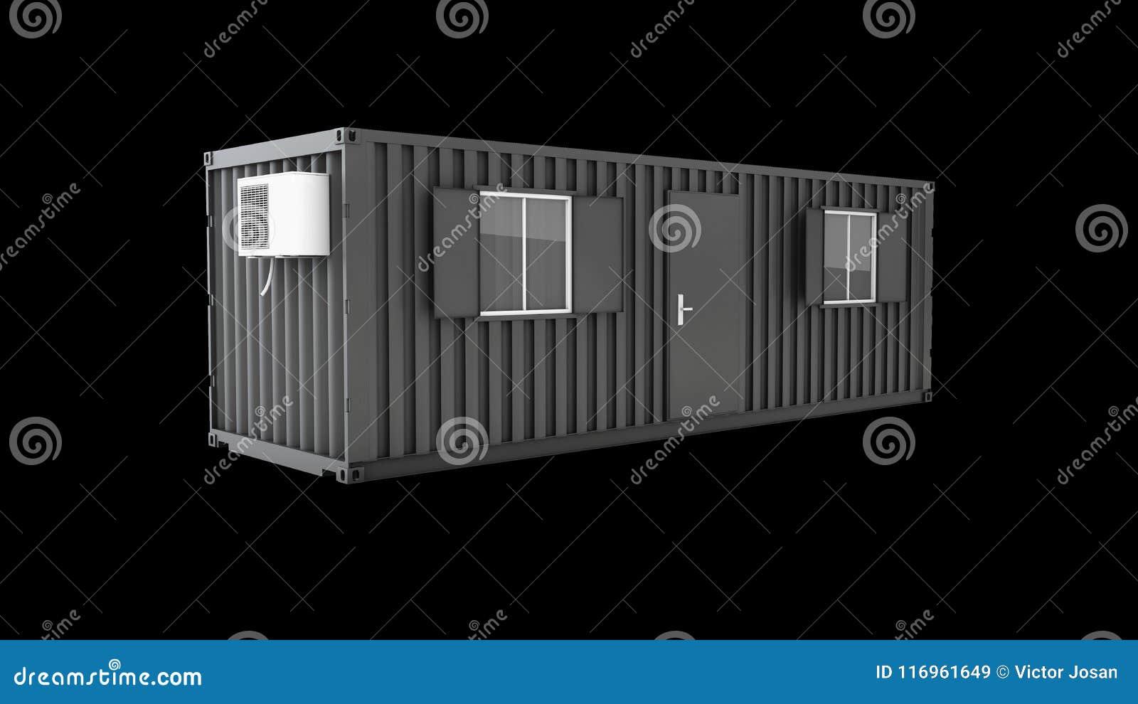 3d ilustração do contentor velho convertido no escritório da construção, preto isolado
