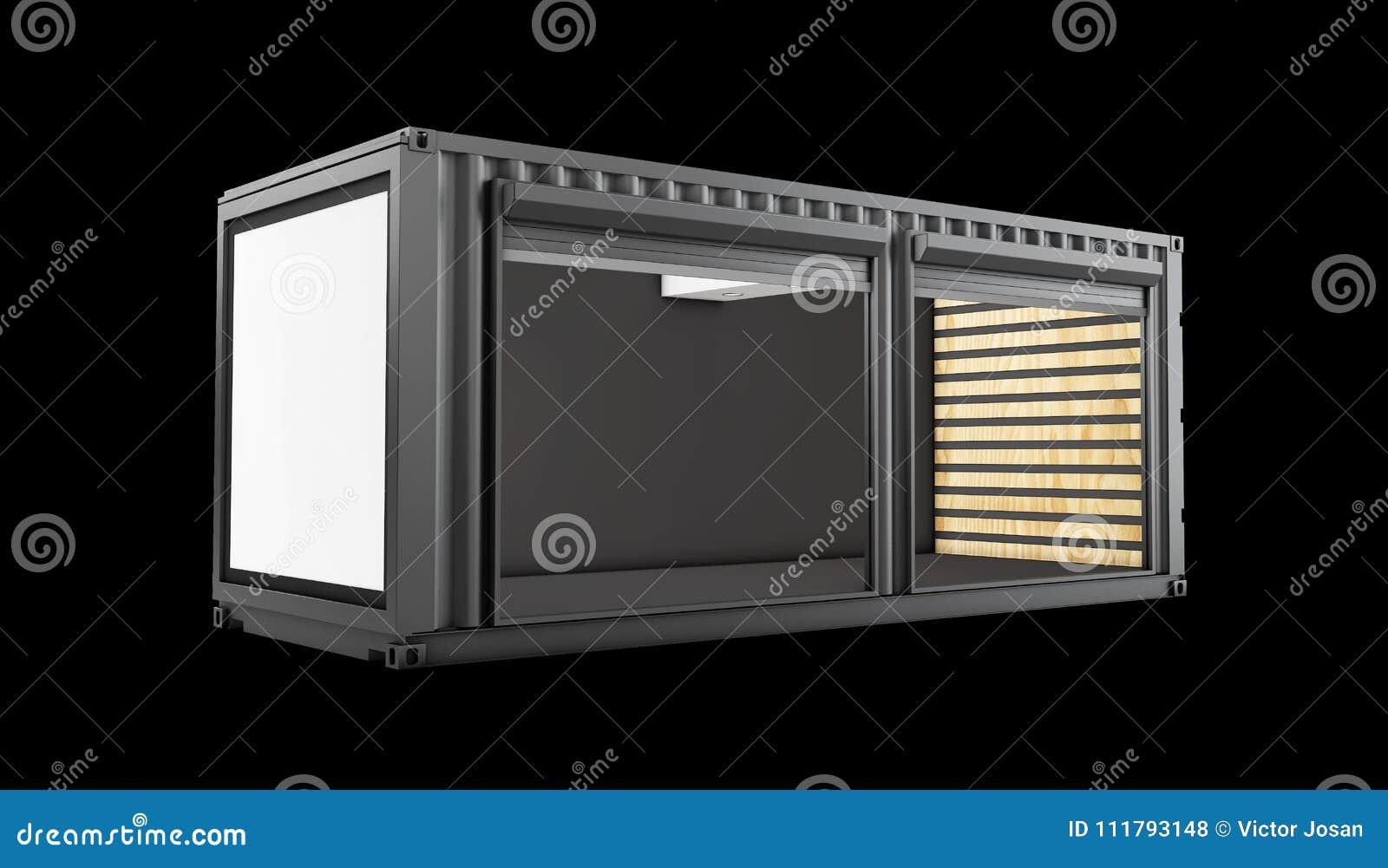 3d ilustração do contentor velho convertido, preto isolado