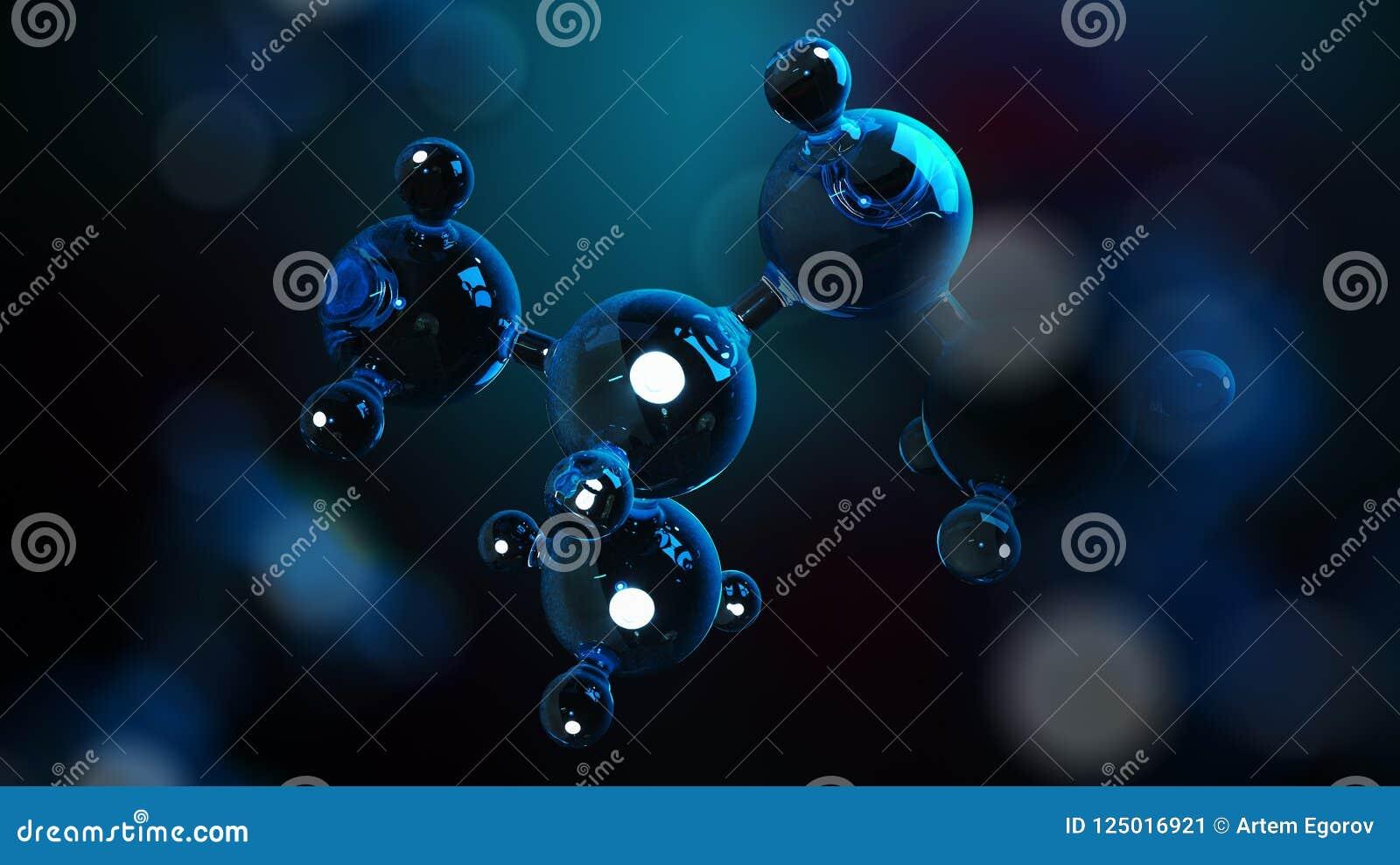 3D ilustraci molekuły Atomu bacgkround mapy tła oko medical optometrist Cząsteczkowa struktura przy atomowym poziomem