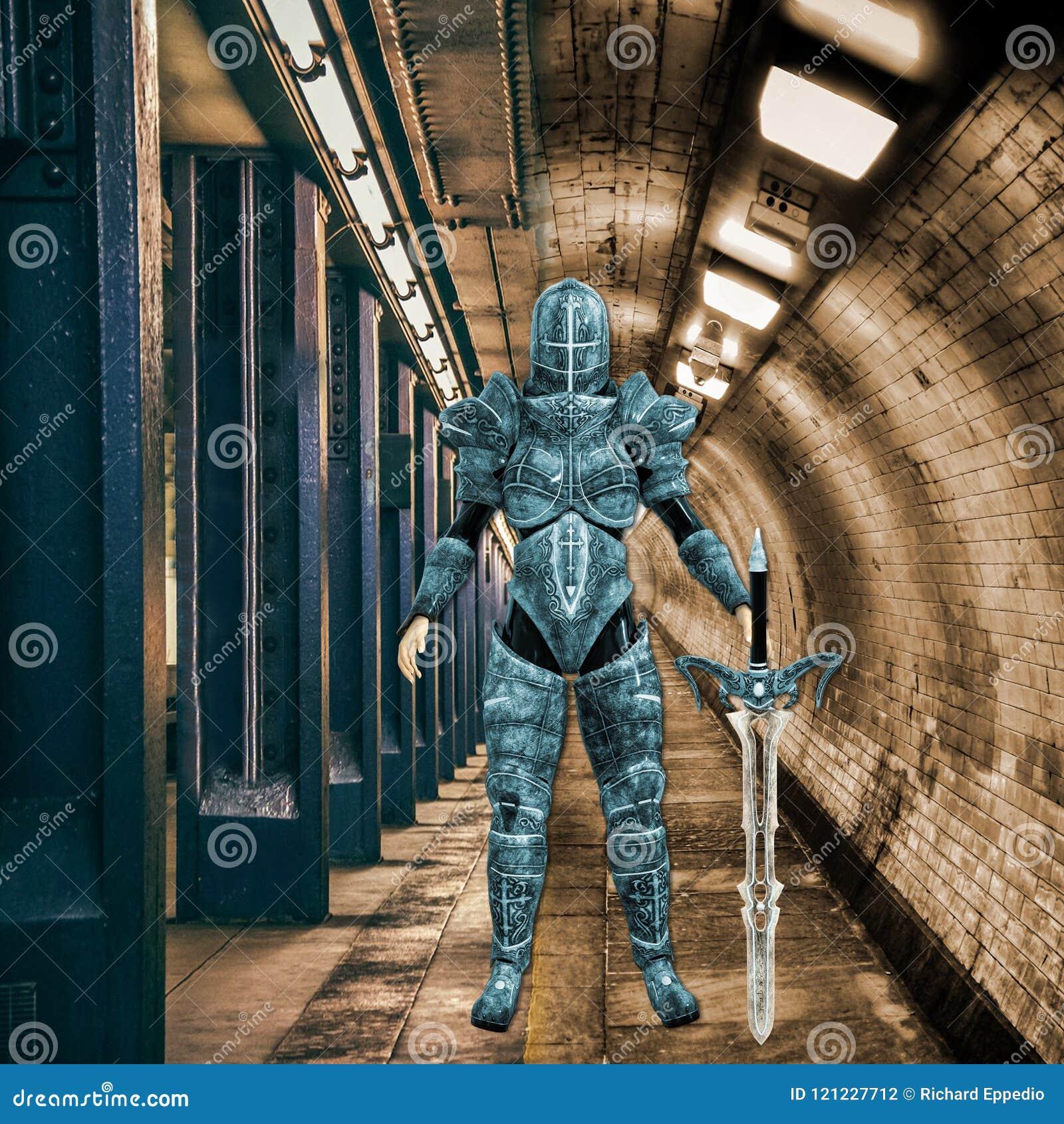 3D ilustracja Żeński Miastowy Ninja wojownik w Markotnym otaczaniu