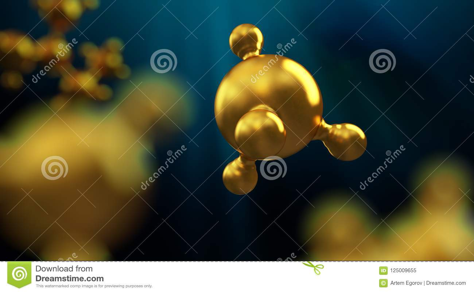 3D ilustracja abstrakcjonistyczny złocisty metal molekuły tło