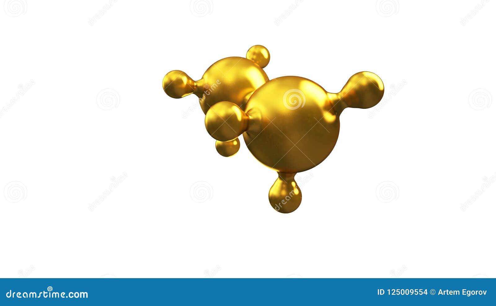3D ilustracja abstrakcjonistyczny złocisty molekuły tło