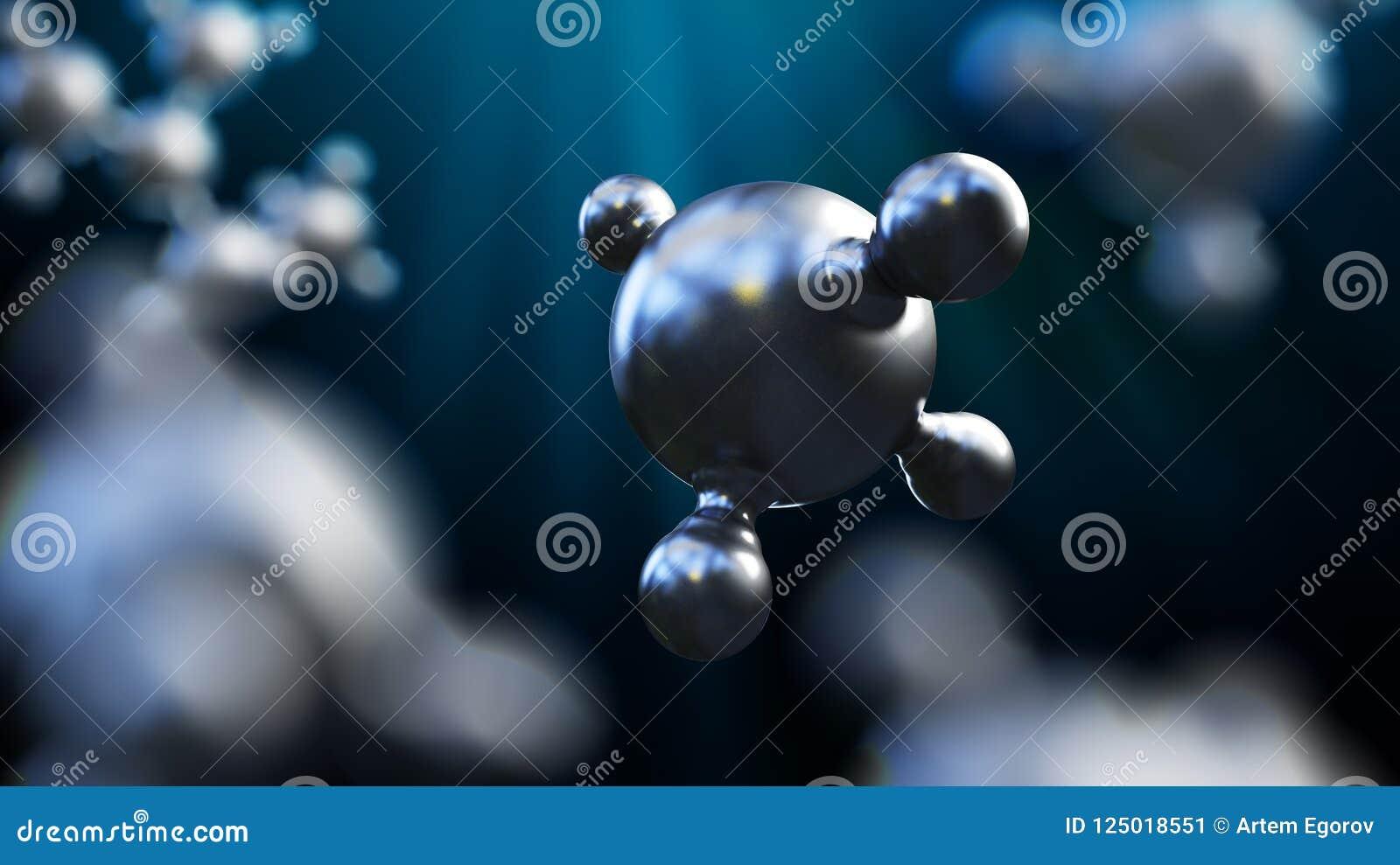 3D ilustracja abstrakta srebra metalu molekuły tło
