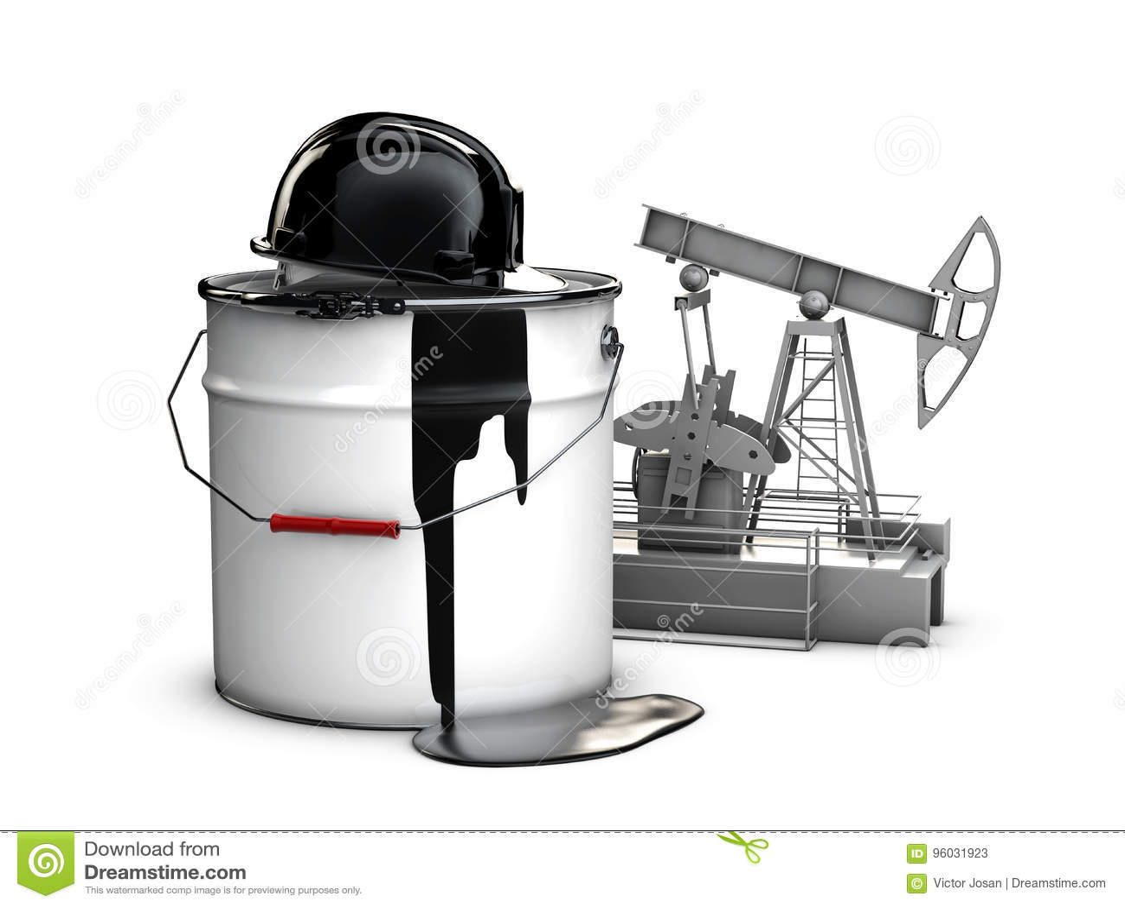 3d ilustracja baryłka olej z przysiółkiem i nafcianą pompą, odosobniony czerń