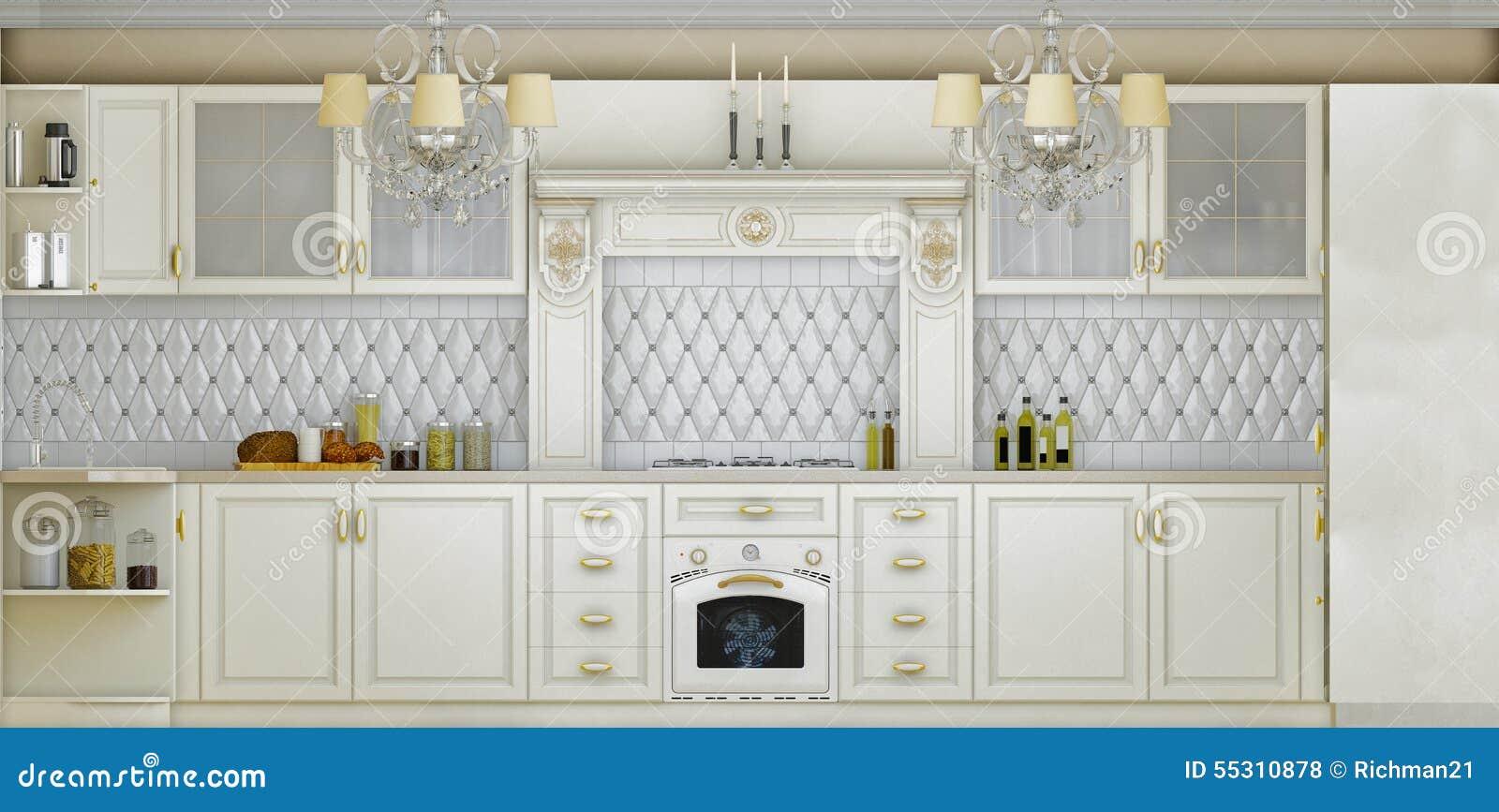 3D ilustracja biała kuchnia w klasycznym stylu