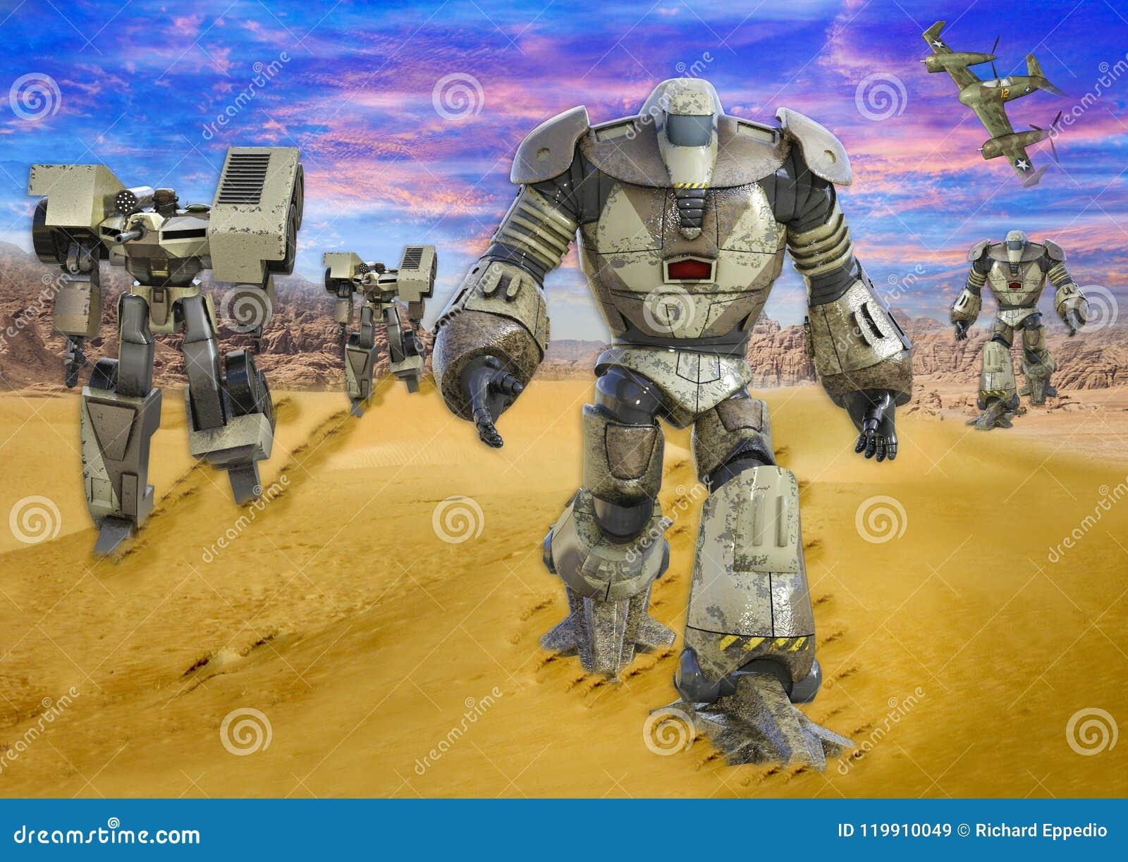 3D ilustracja Futurystyczni Mechaniczni Chodzący trutnie w pustyni