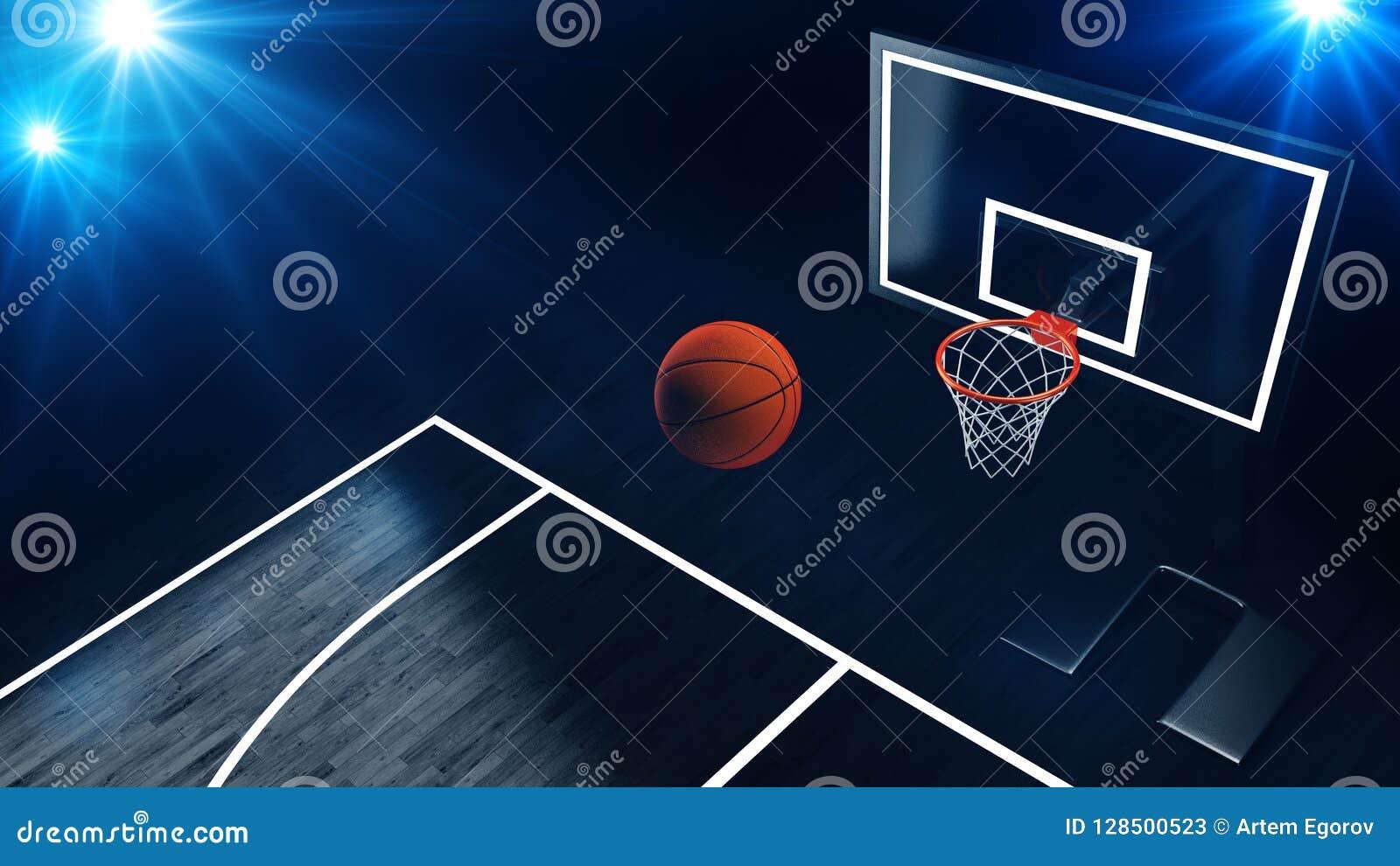 3D ilustracja koszykówka obręcz w fachowej koszykówki arenie