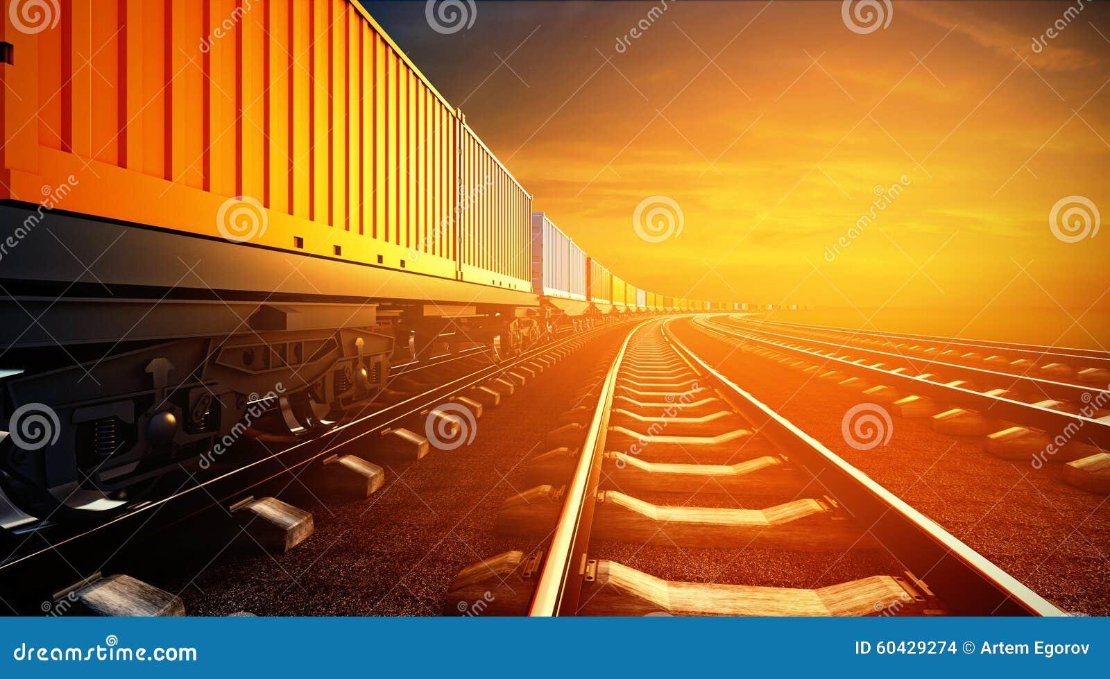 3d ilustracja pociąg towarowy z zbiornikami na platformach
