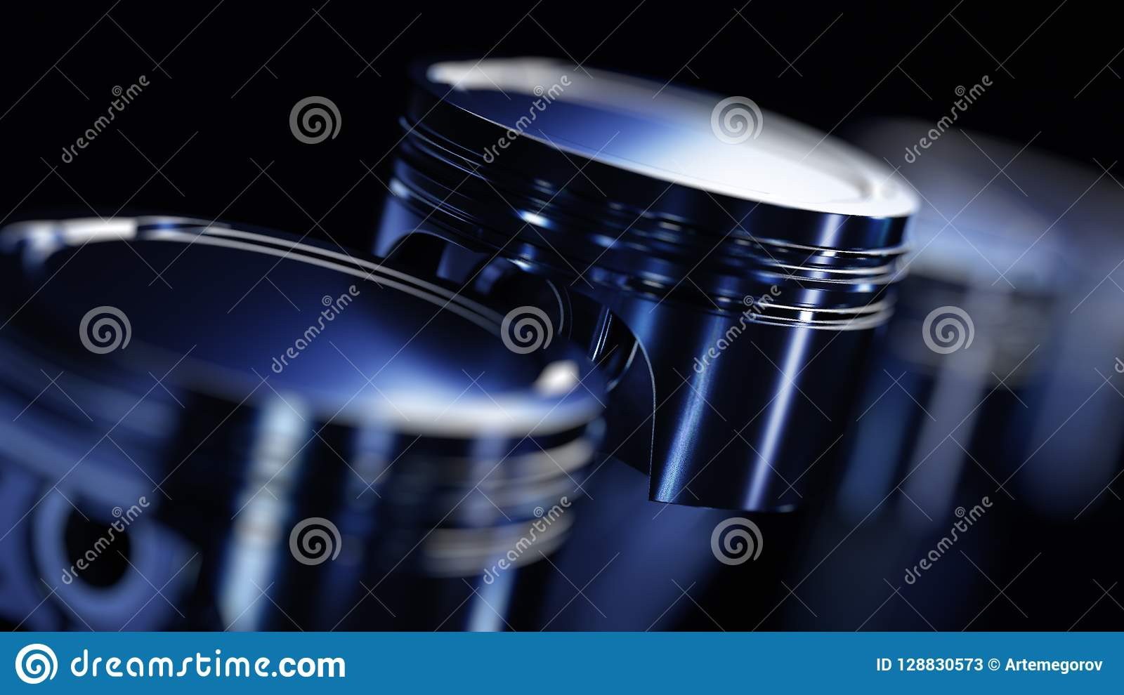3d ilustracja silnik Motorowe części jako crankshaft, tłoki w ruchu
