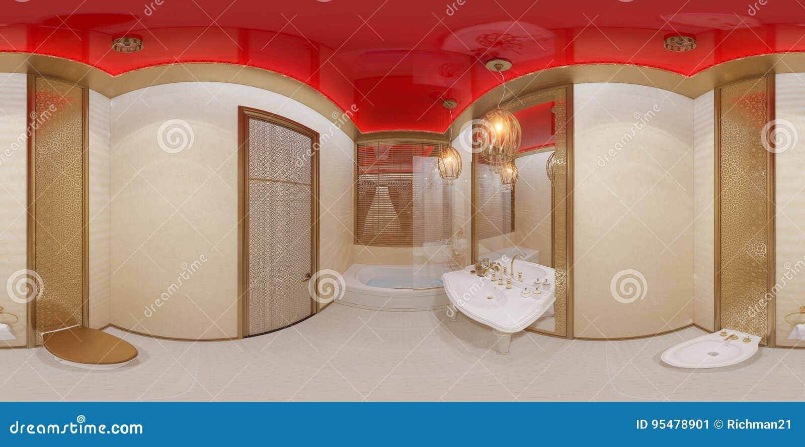 3d ilustracja 360 stopni panoramy łazienki