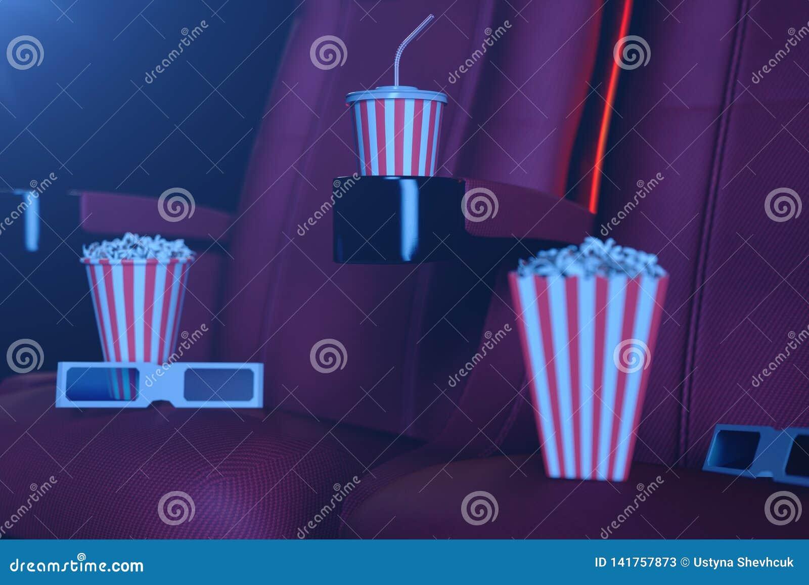 3D ilustracja z popkornem, 3d szkłami i krzesłami, z błękita światłem Pojęcie teatr i Rewolucjonistek krzesła w