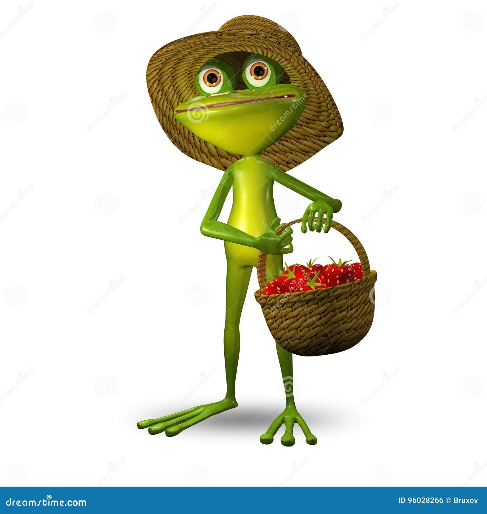 3d Ilustracyjna żaba z truskawką