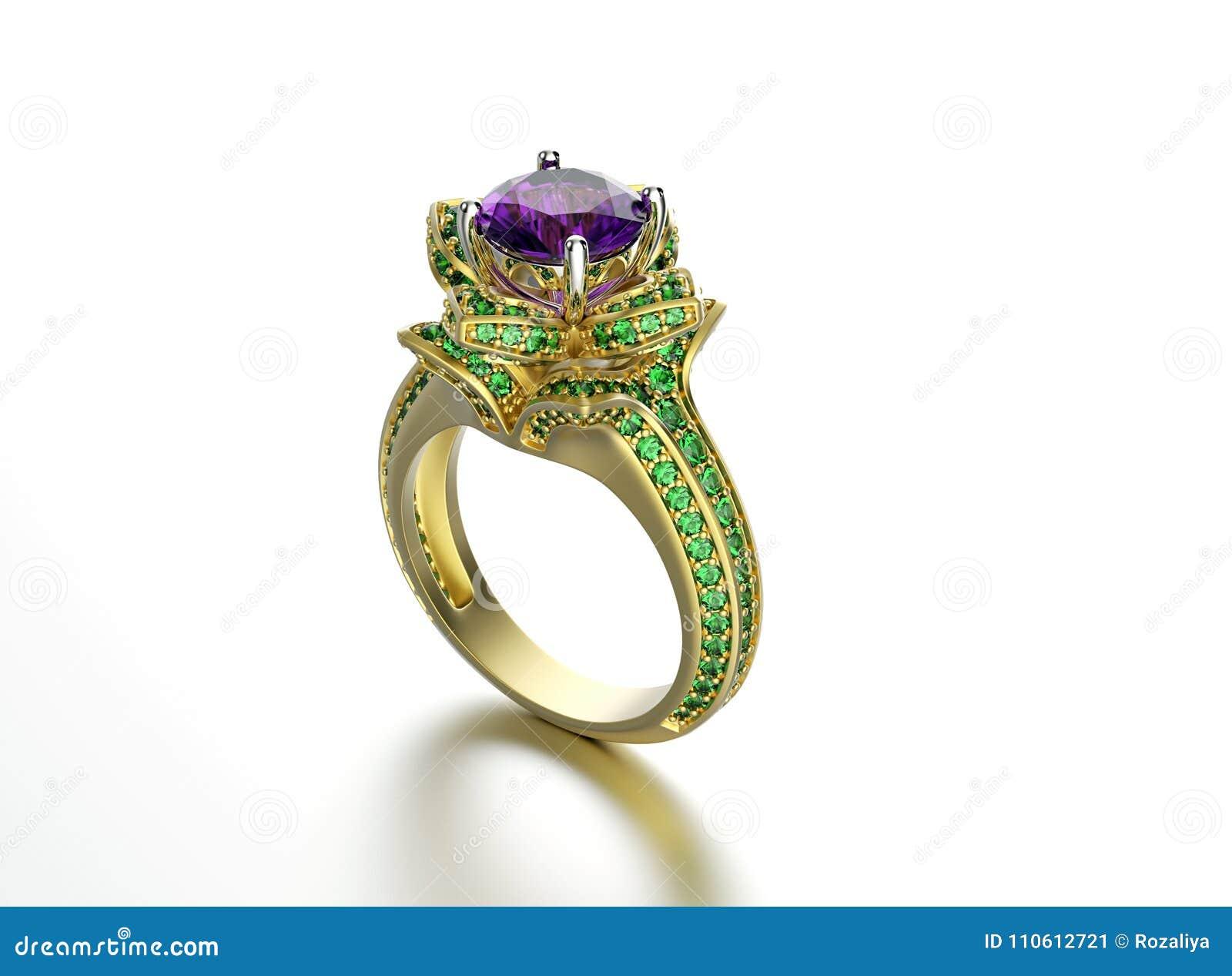 3d ilustracyjni złociści pierścionki Mody akcesorium klejnoty