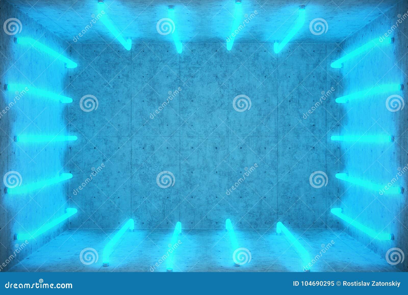 3D Ilustracyjny Abstrakcjonistyczny błękitny izbowy wnętrze z błękitnymi neonowymi lampami futurystyczny architektury tło Pudełko