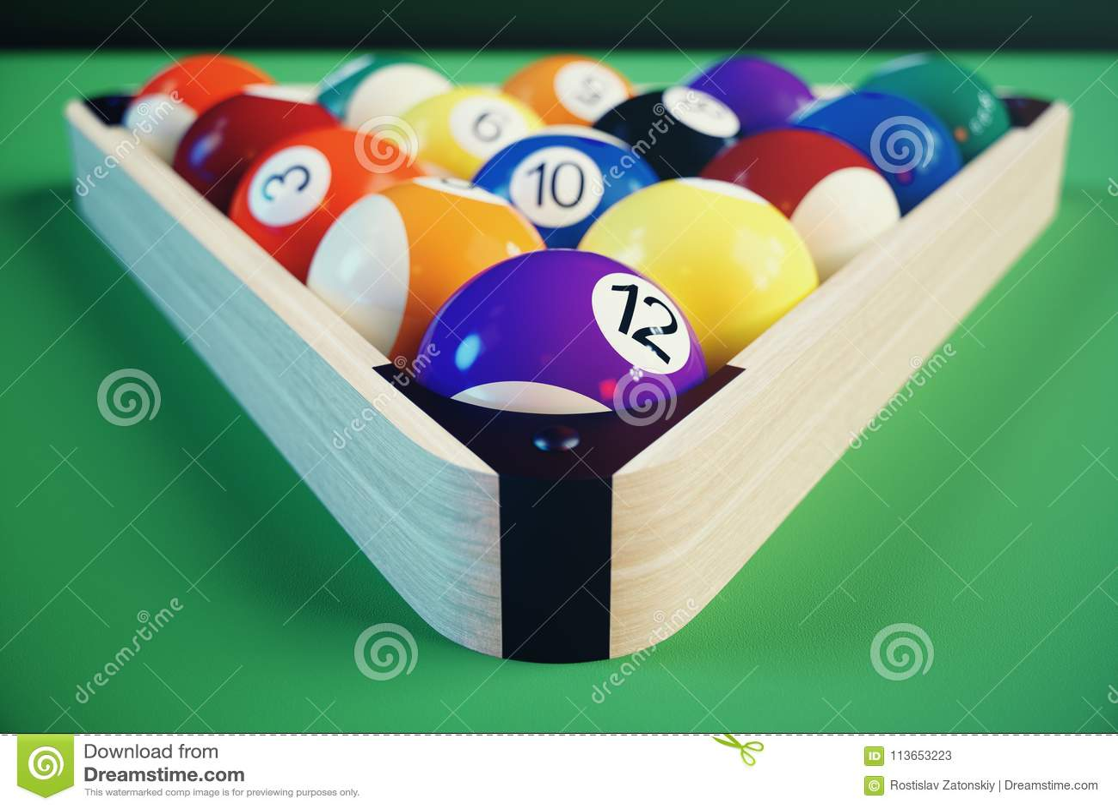 3D ilustracyjny rekreacyjny sport Billiards piłki na z zielonym billiards stołem Bilardowy sporta pojęcie Basen bilardowy