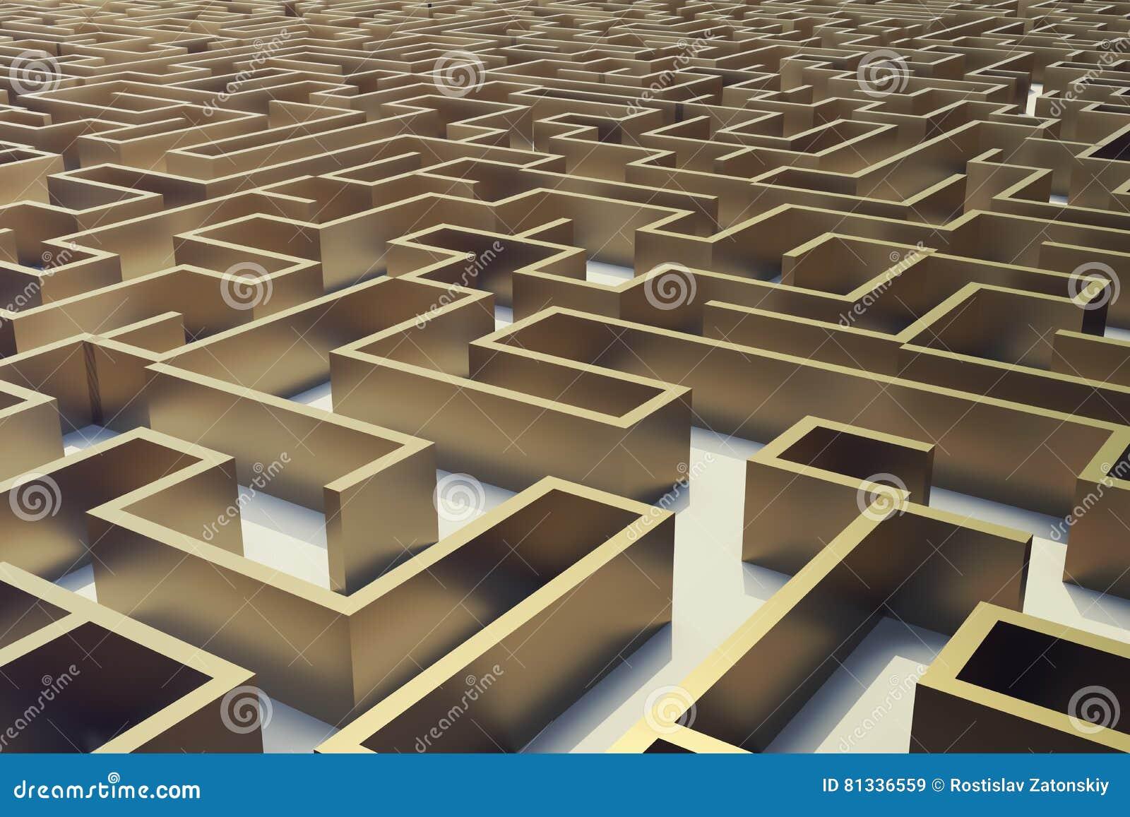 3d ilustracyjny złocisty labitynt, powikłany rozwiązywania problemów pojęcie