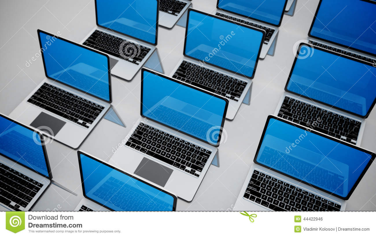 3d image of a lot of laptops in a rows.