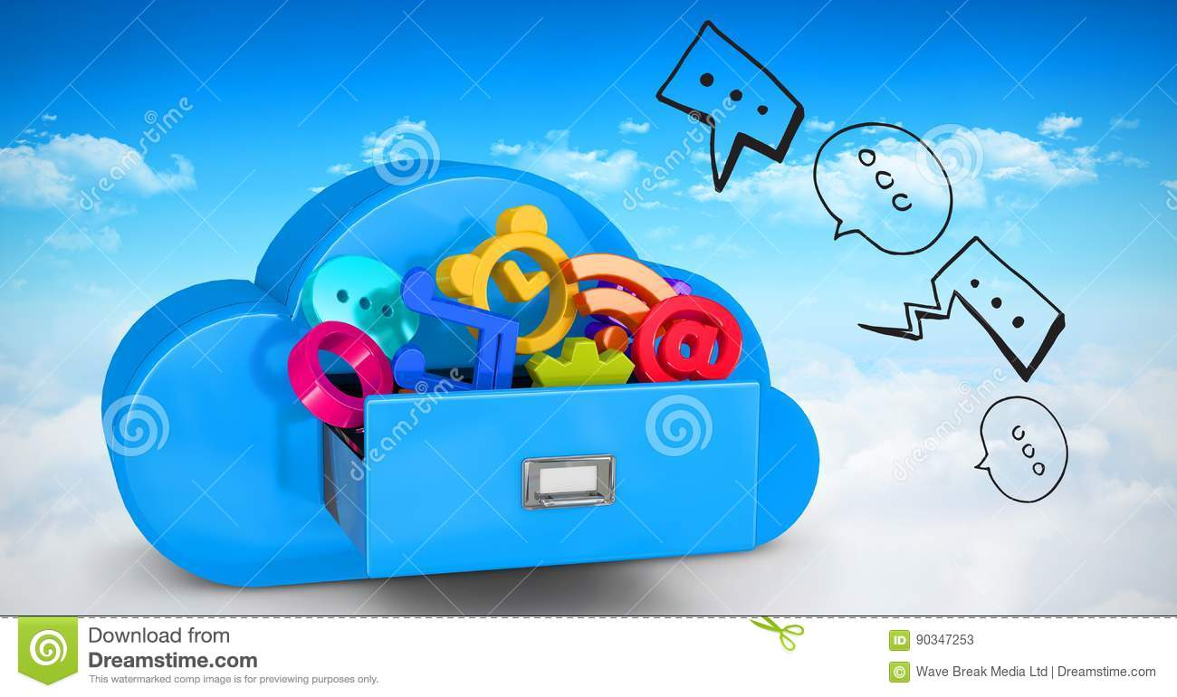 3d image of various icons in cloud shaped drawer