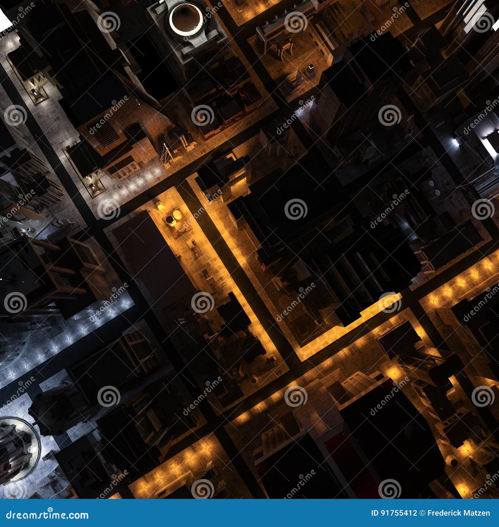 3D image - vue aérienne de ville la nuit