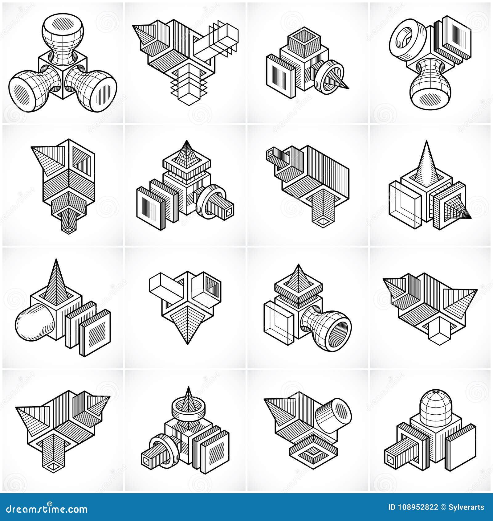 3D inżynierii wektory, abstrakt kształtują kolekcję