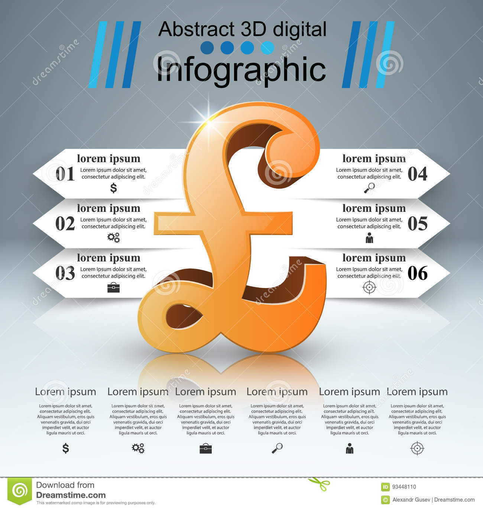 3D Infographic Английский фунт, значок денег