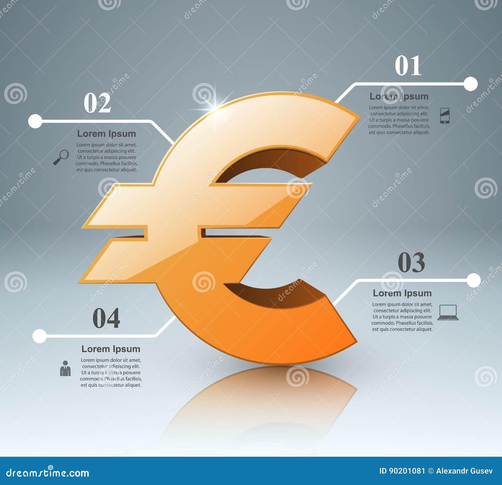 3D Infographic Euro pengarsymbol