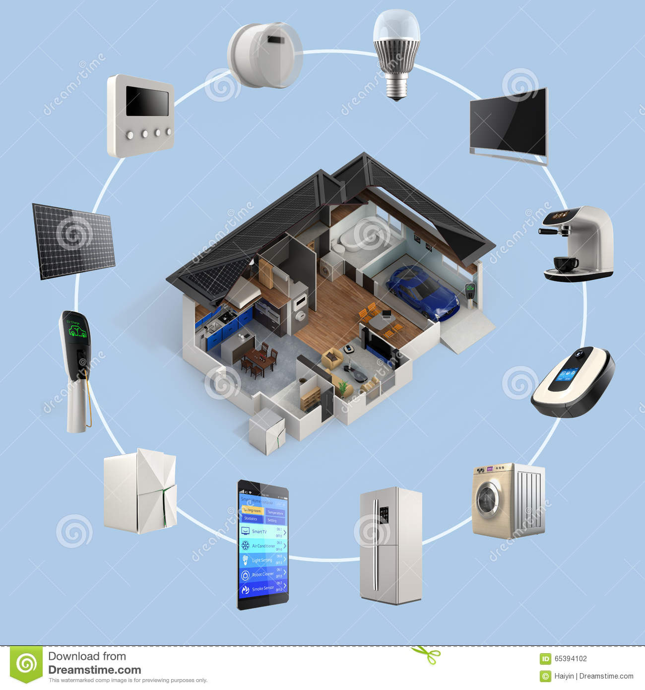 Automation Technology: 3D Infographics Of Smart Home Automation Technology Stock