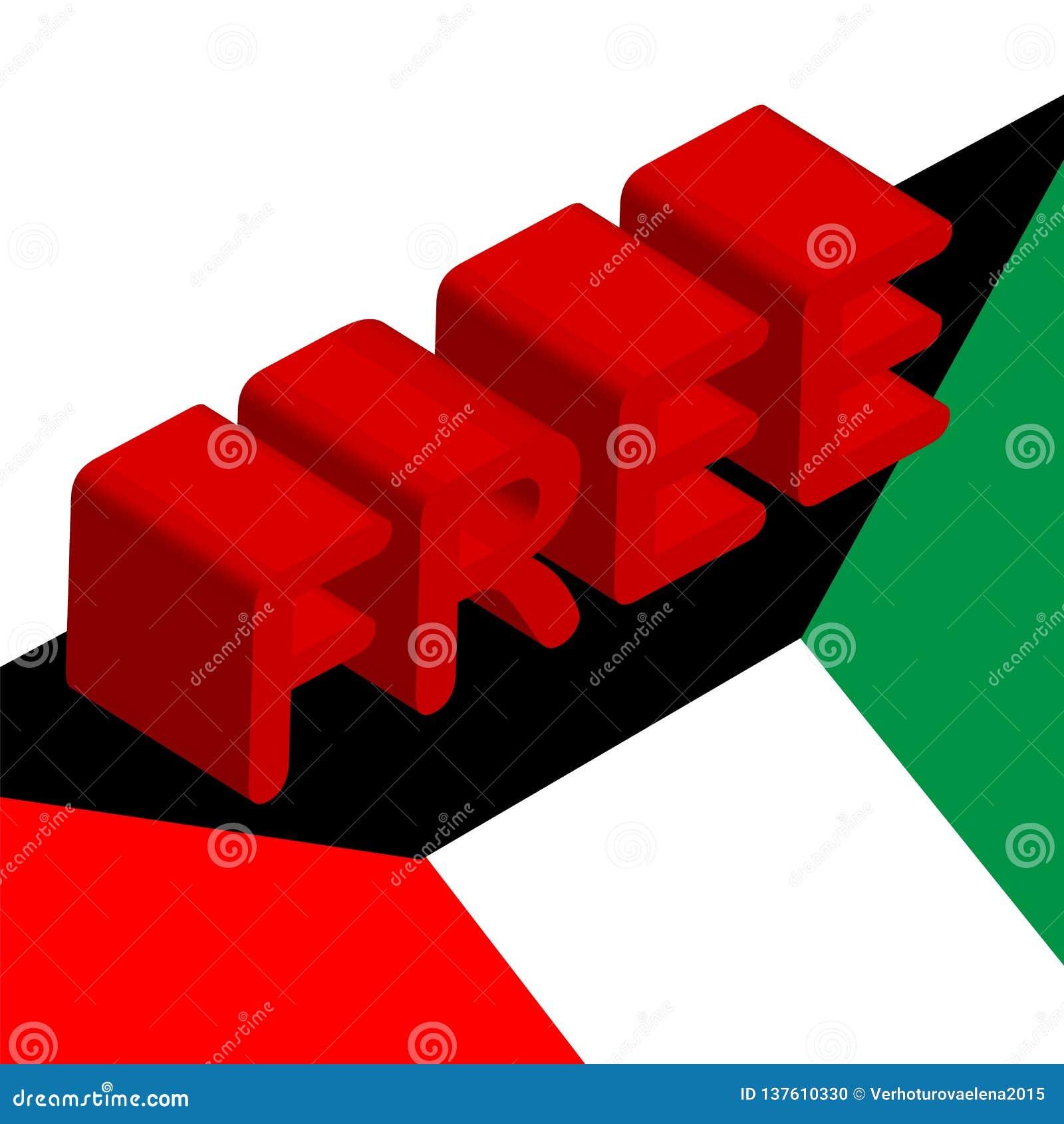 3d inskrift som är fri på flaggan av Kuwait, ett symbol av frihet, befrielsen och den nationella dagen av Kuwait, Februari 25-26,