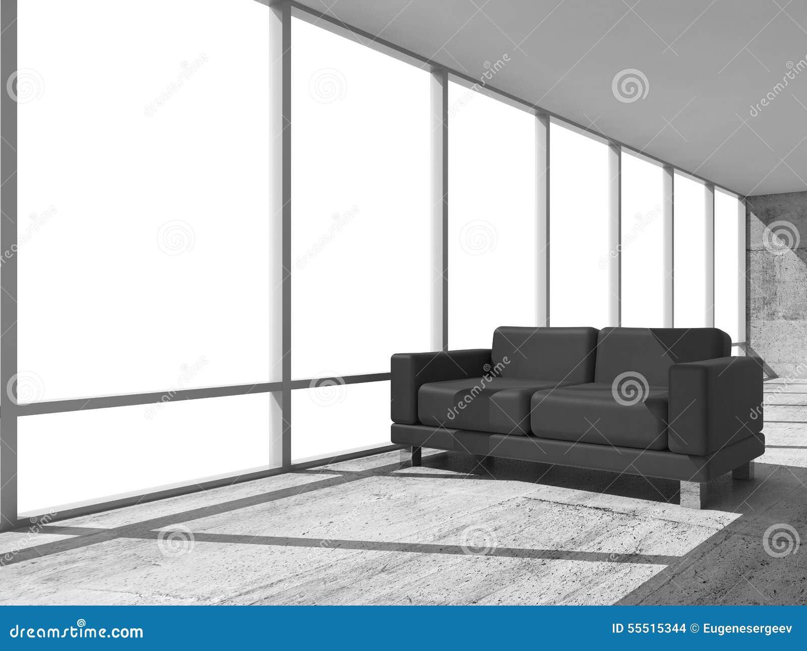 3d intérieur abstrait pièce de bureau avec le sofa noir