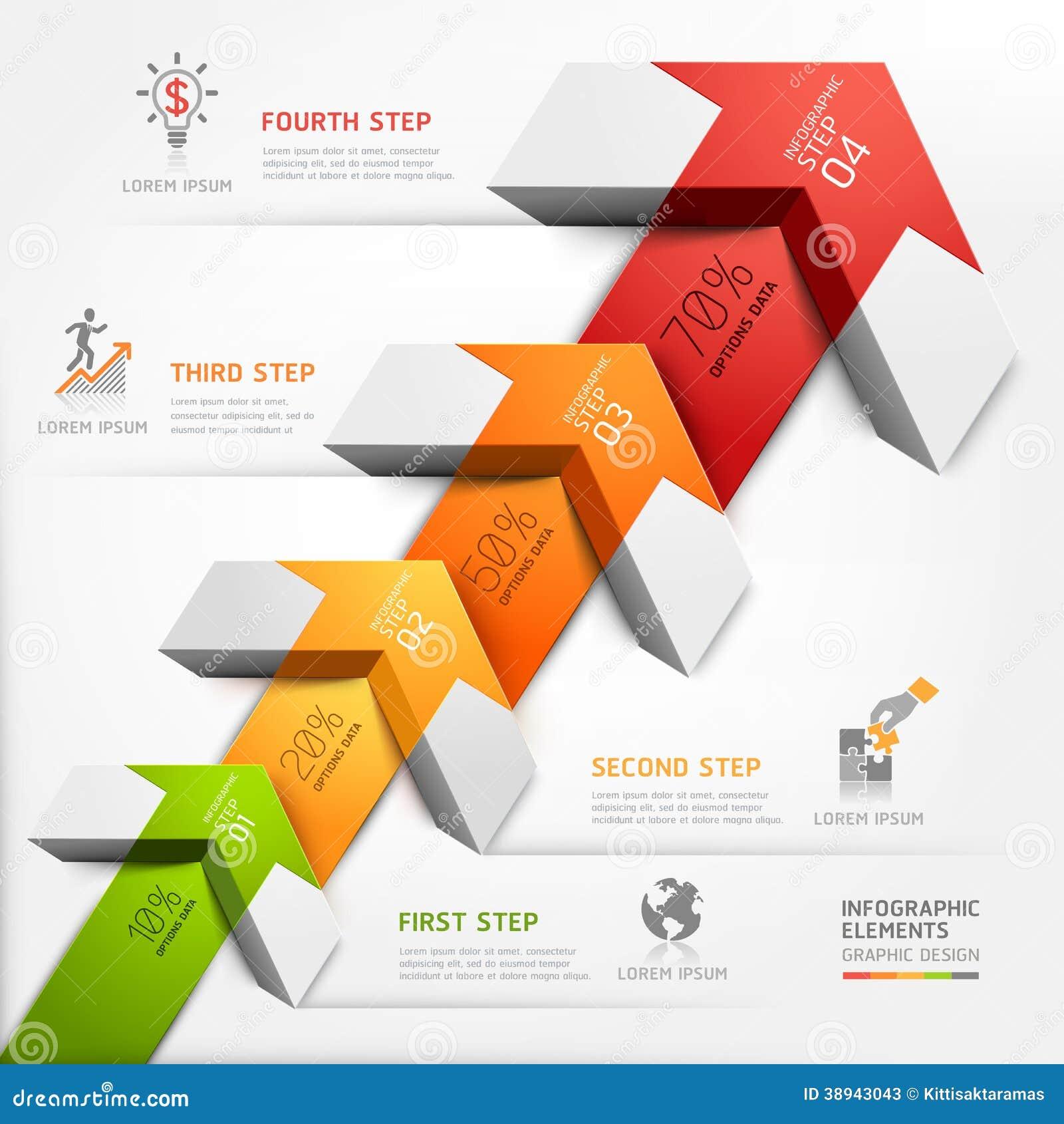 3d intensifican negocio del diagrama de la escalera de la flecha.