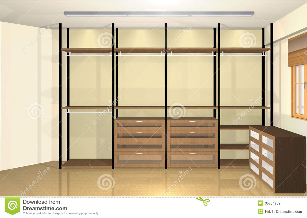 3d interior design spacious modern dressing room stock for Configurateur dressing 3d