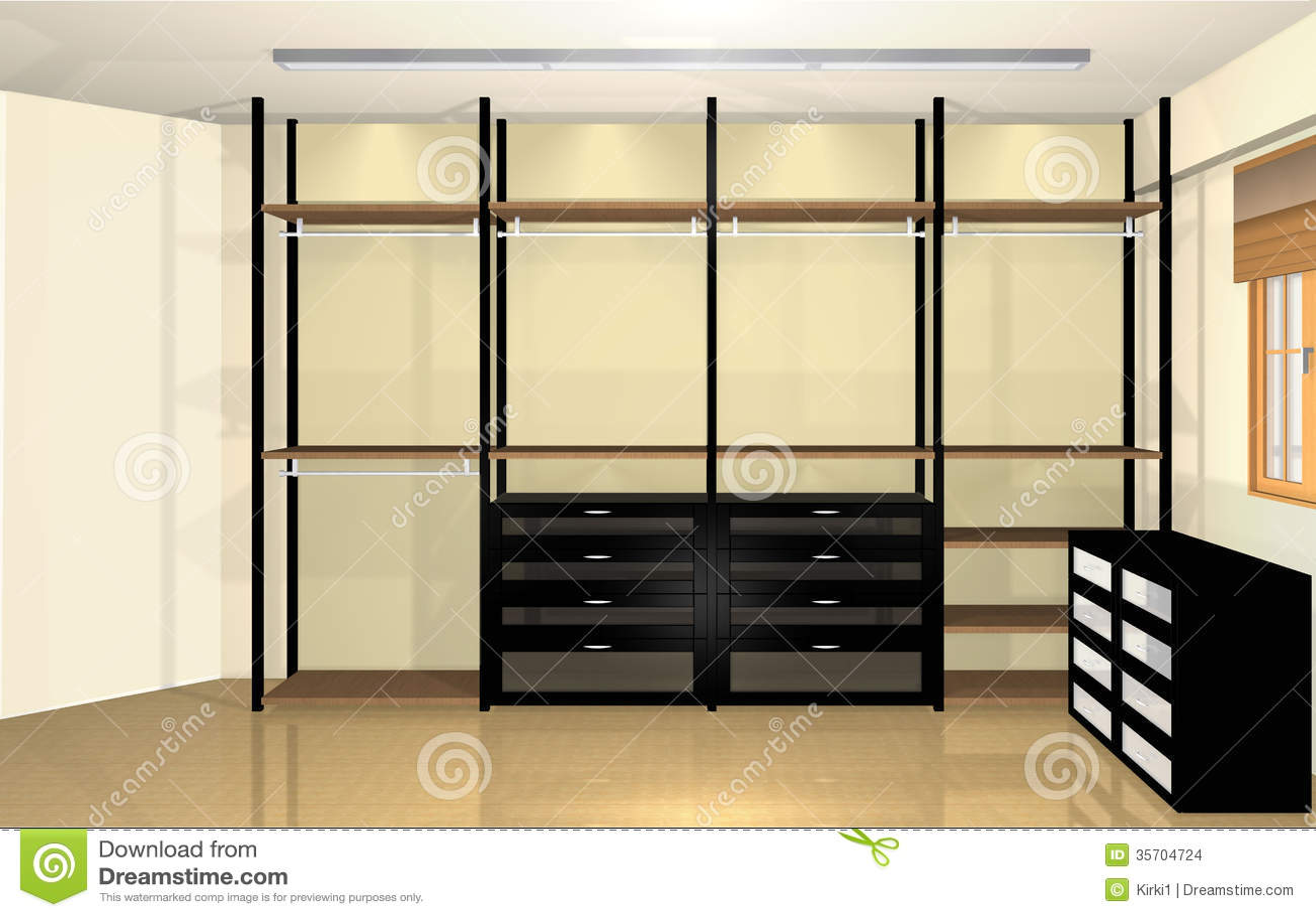 3d Interior Design Spacious Modern Dressing Room Stock