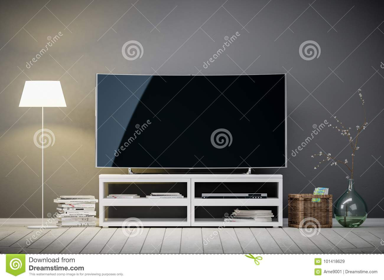 3d interior rendering of modern living room with tv and lamp