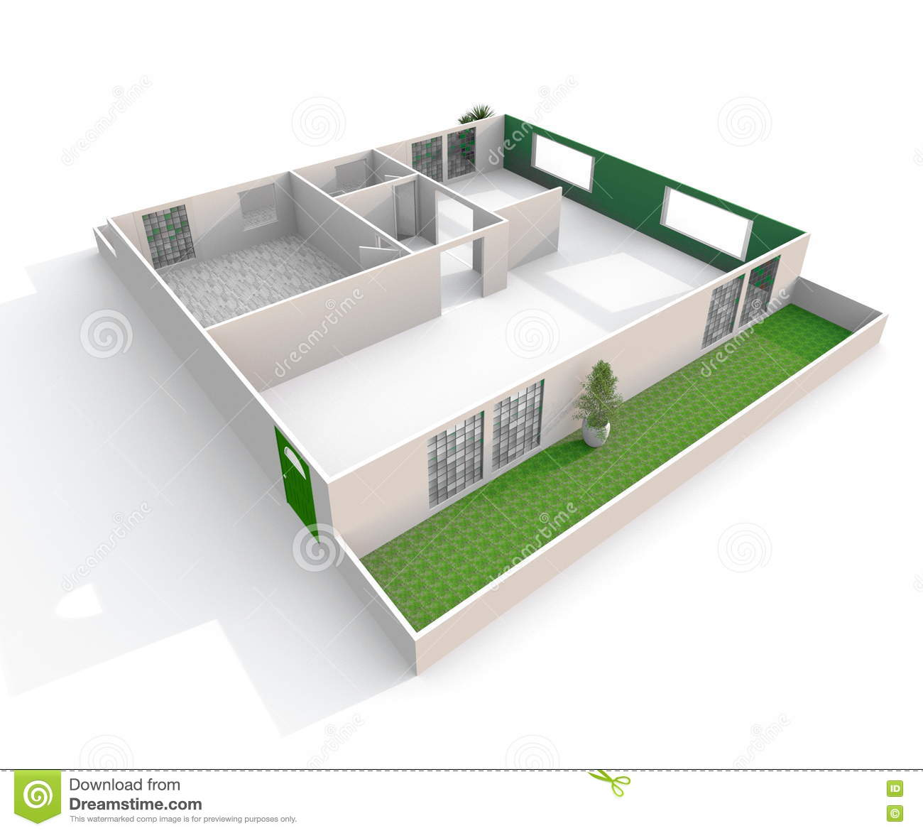 3d Interior Rendering Oblique View Of Empty Paper Model Home ...
