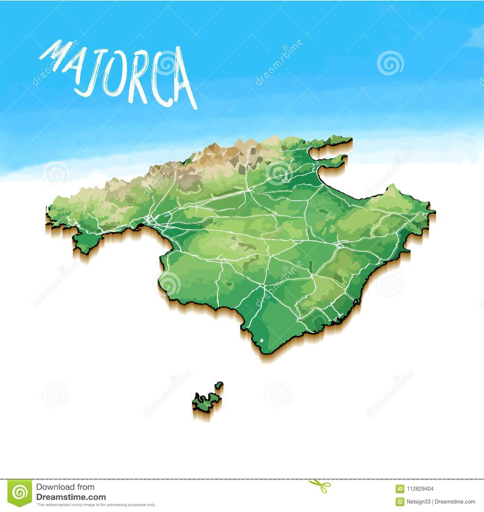3d Island Map Of Santorini Greece Stock Vector