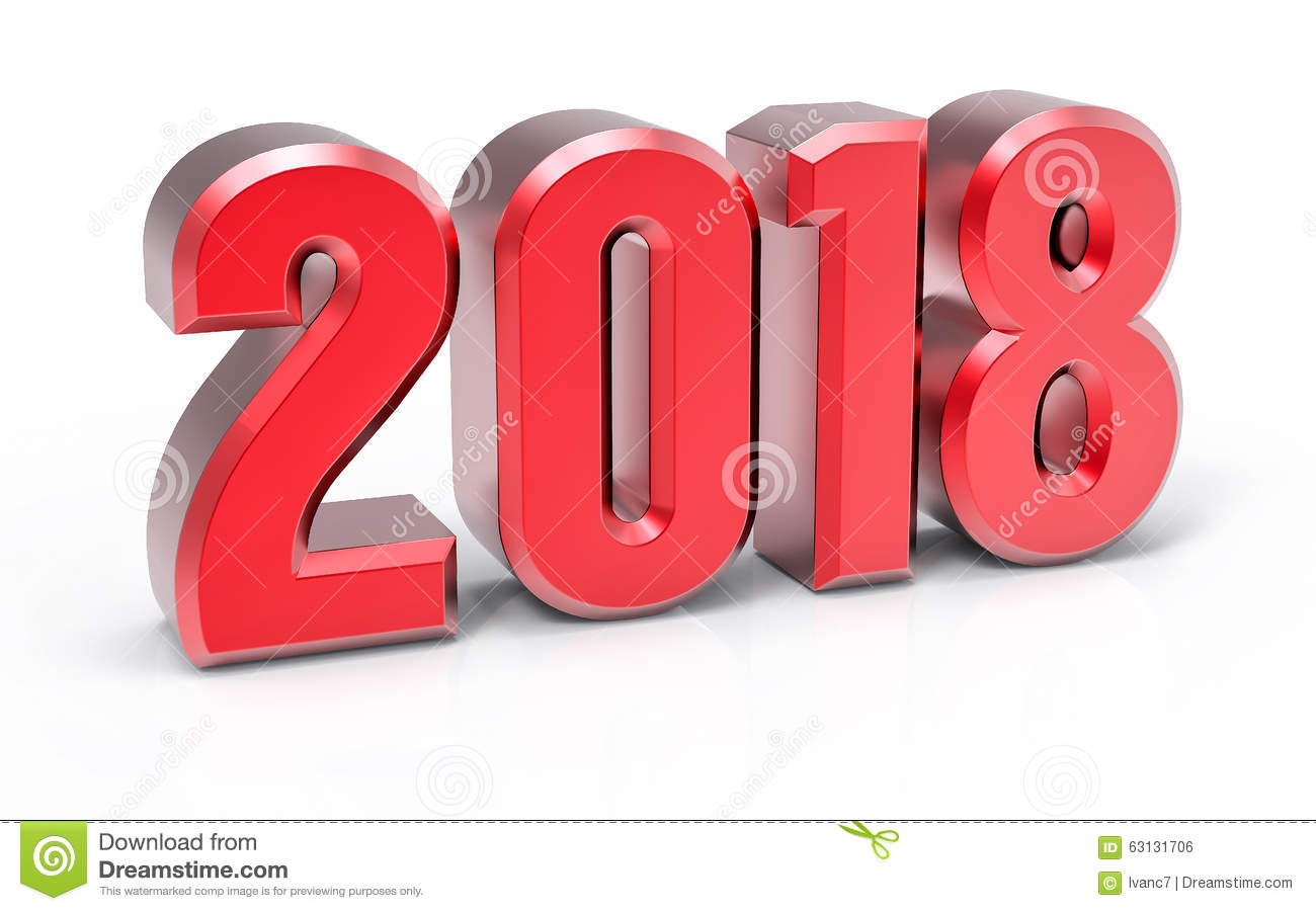 3d isolated red 2018 year stock illustration illustration