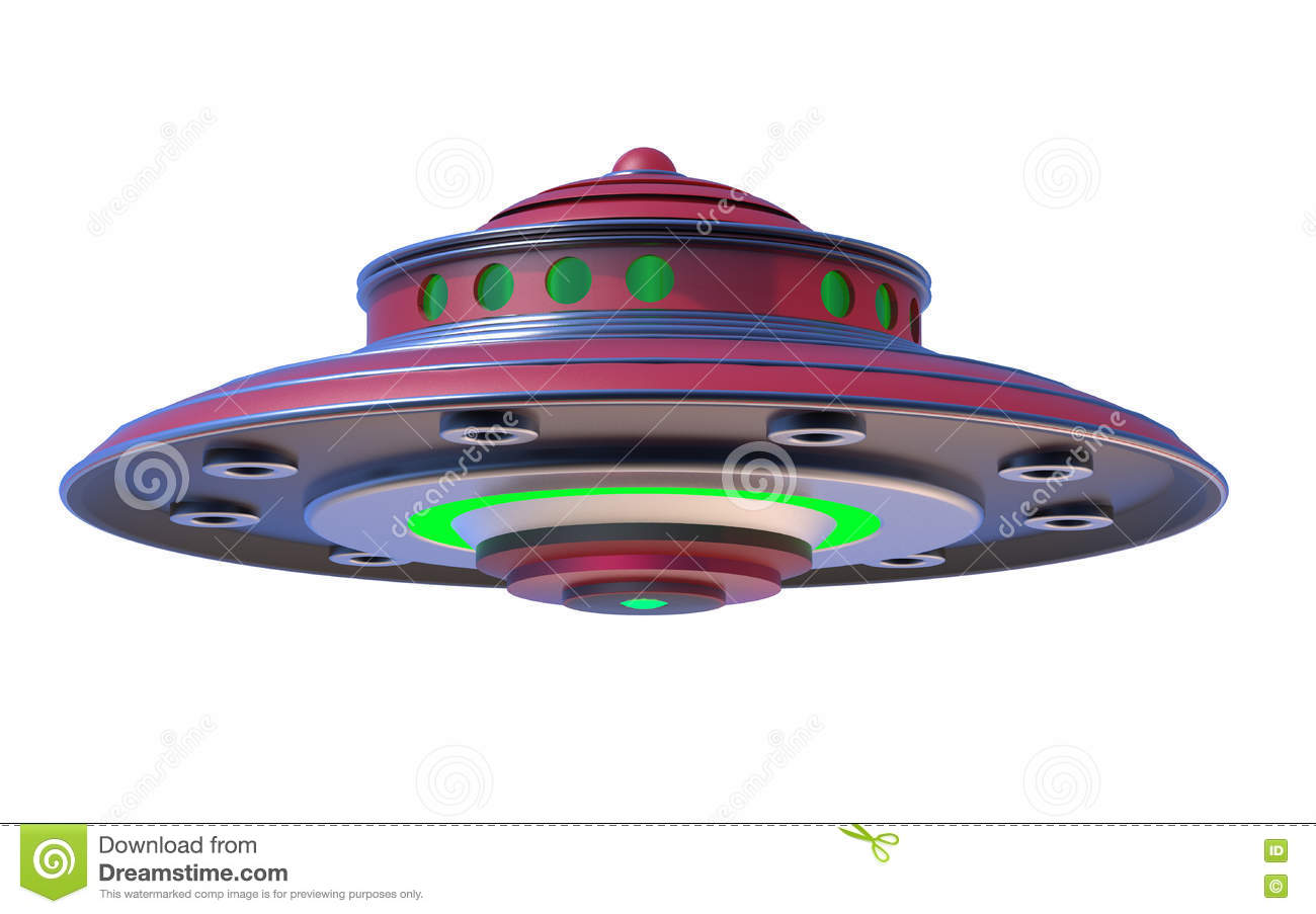 3D Isolated UFO Extraterrestrial Spaceship.