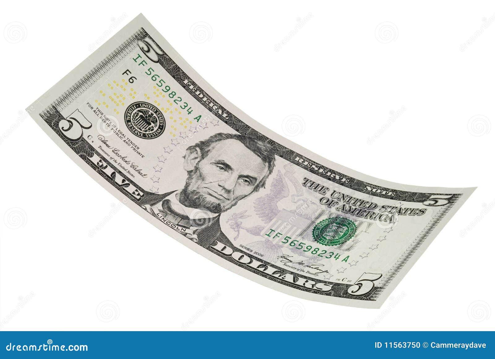 D isolement billet de cinq dollars