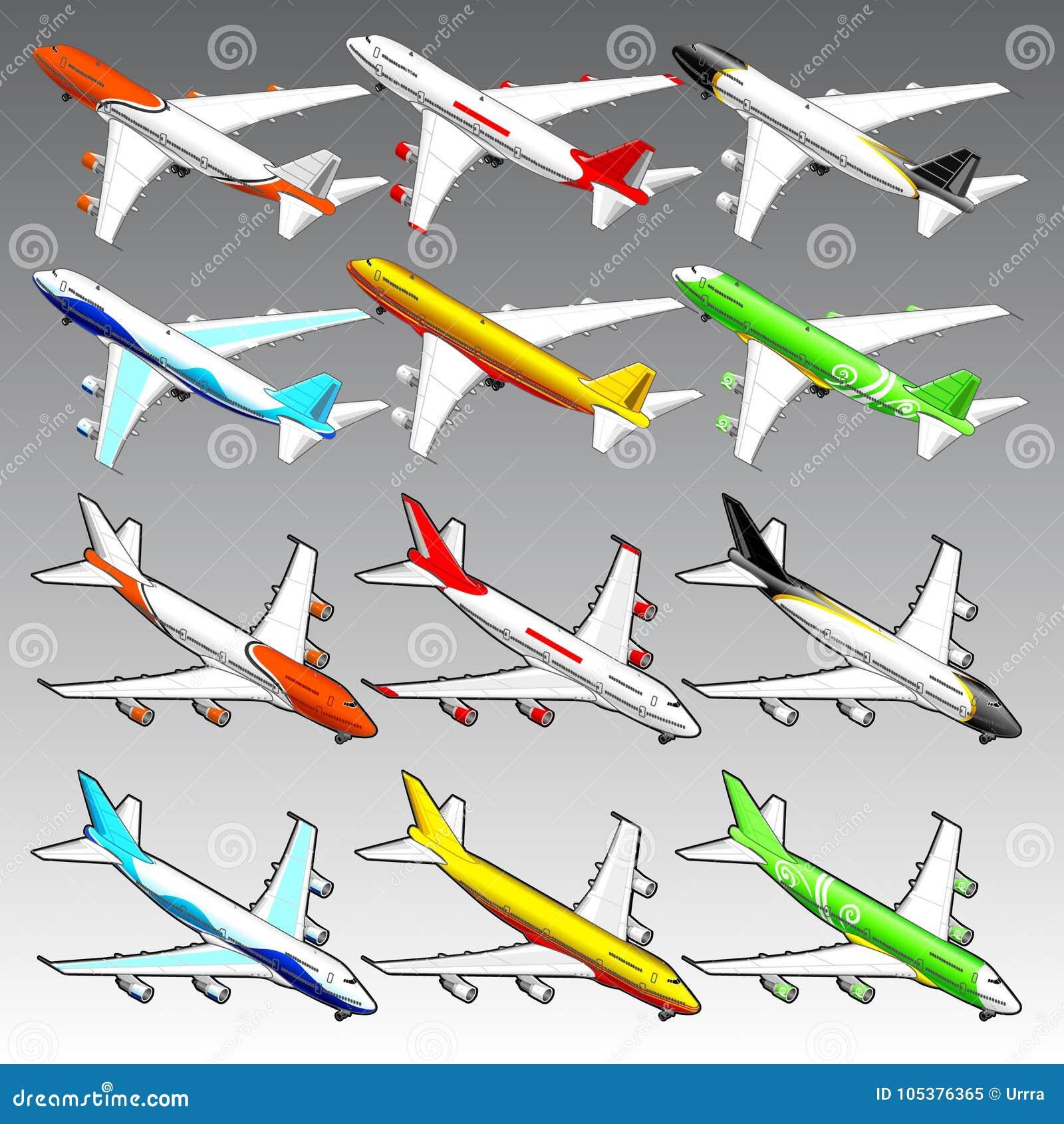 3d isometric airplanes illustration