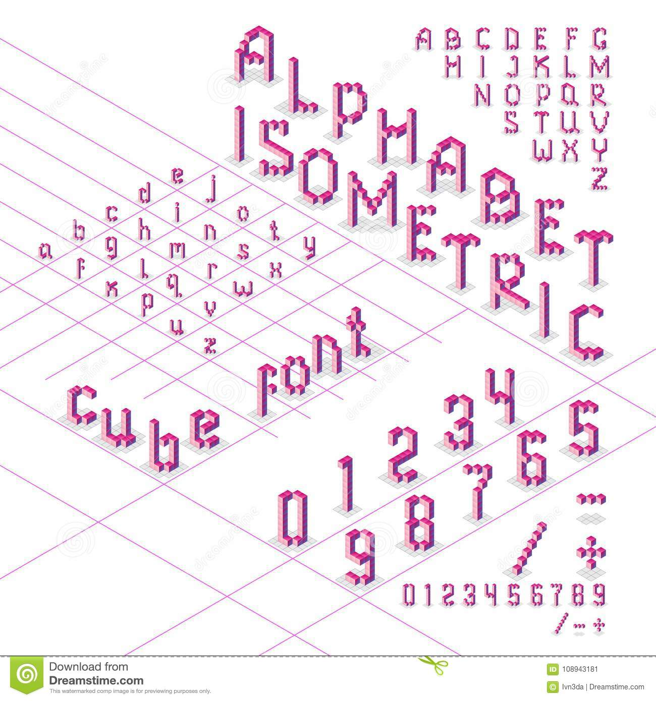 3d Isometric Alphabet Font From Cubes Stock Vector ...