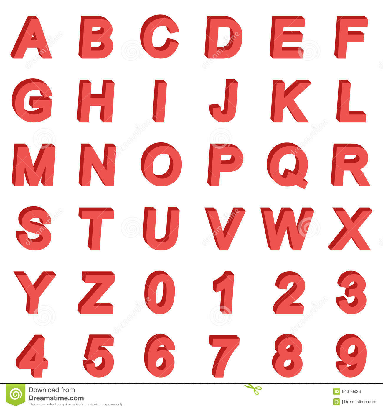 3D Isometric Alphabet Font. Letters And Numbers. Three ...
