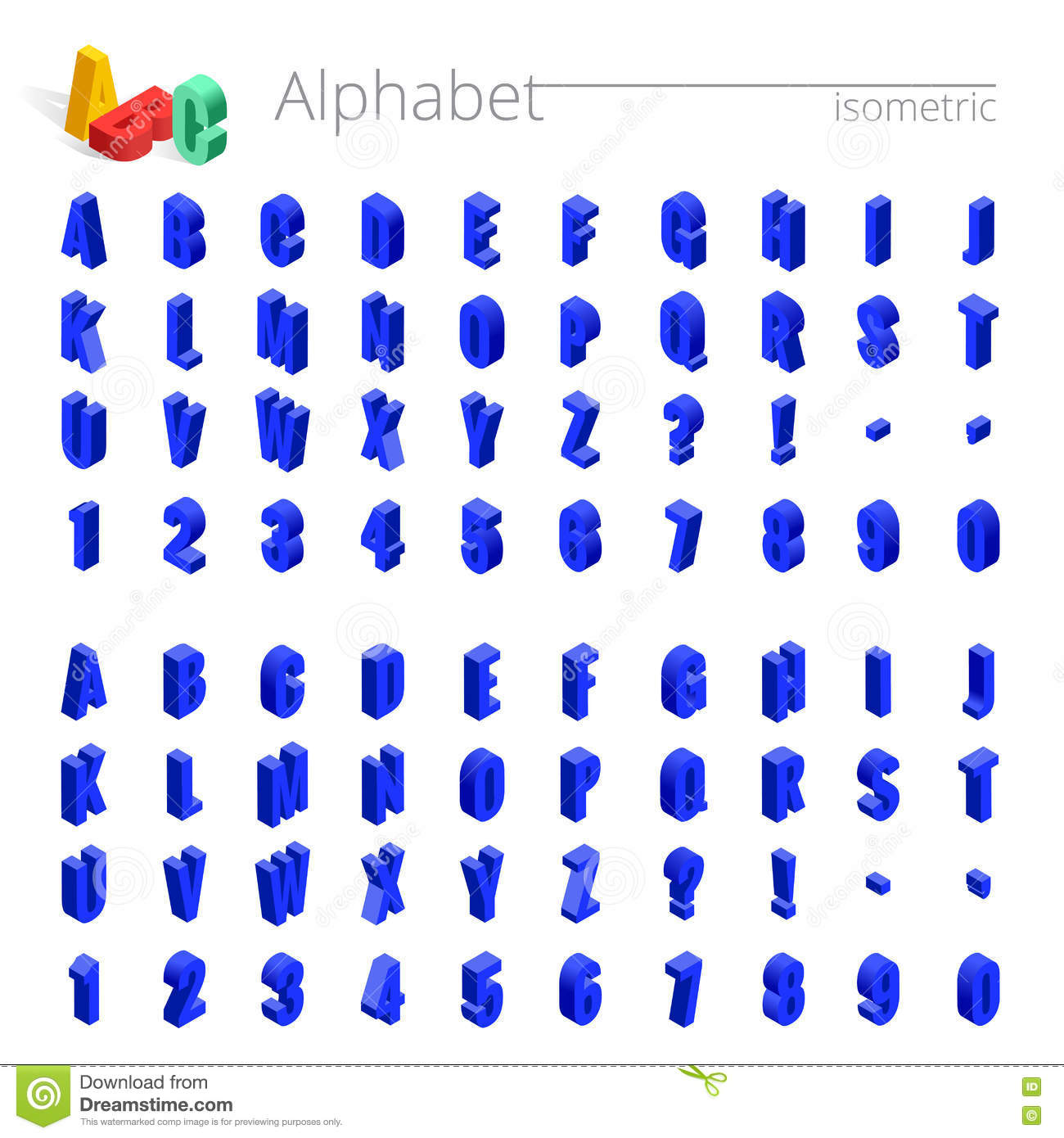3d isometric alphabet vector font isometric letters numbers and symbols three dimensional