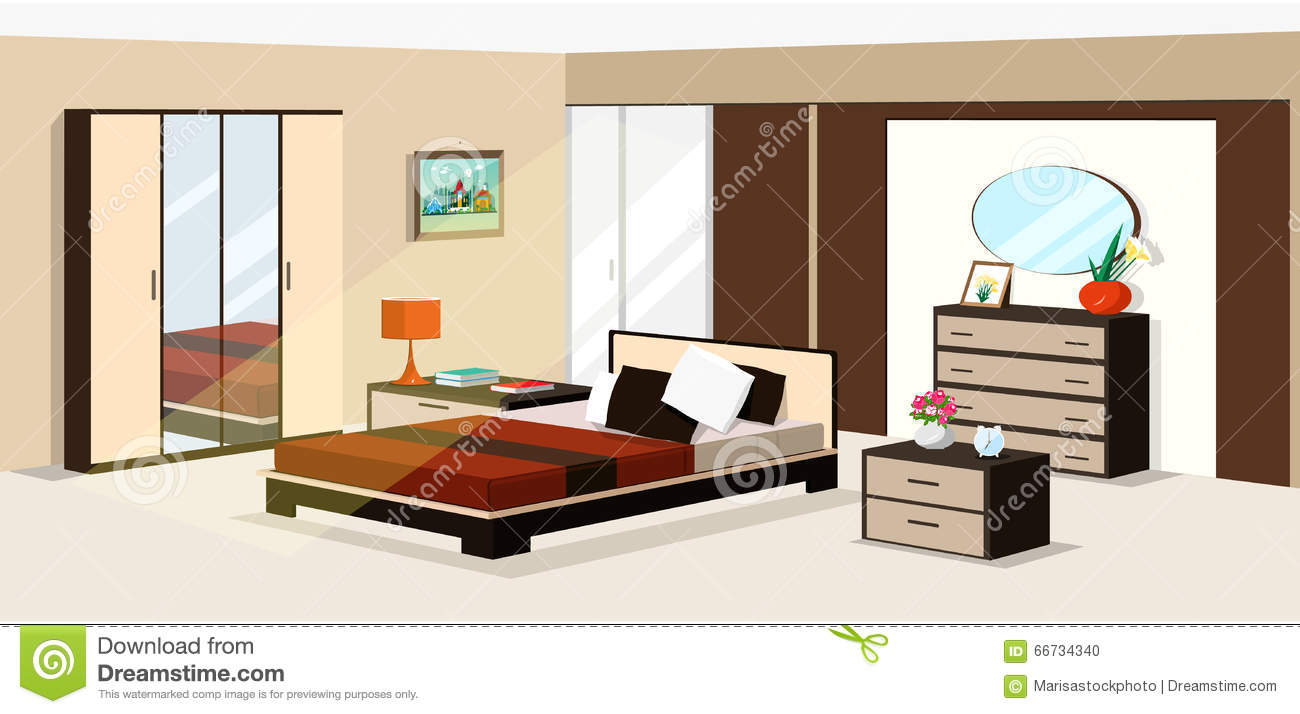 Bedroom Interior Design Set Furniture Vector ~ D isometric bedroom design vector illustration of modern