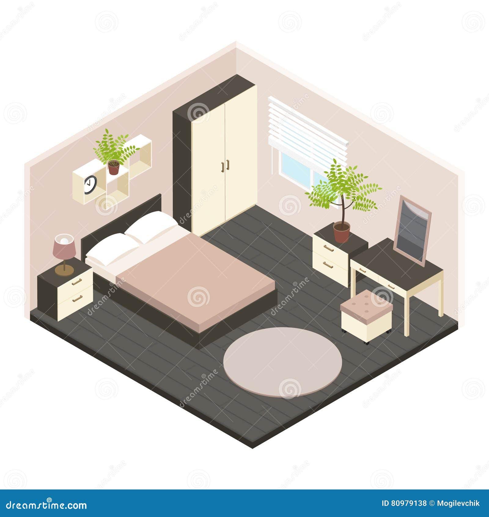 3d isometric bedroom interior stock vector image 80979138 for Plan de chambre 3d