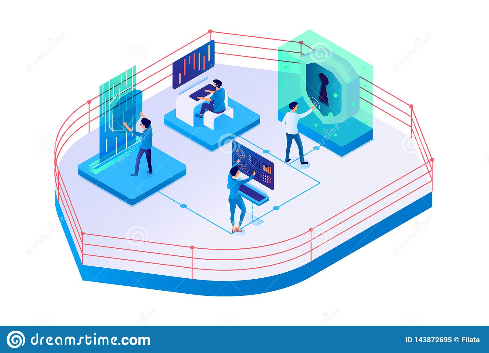 3d isometric biznesmen, bizneswoman na system ochronie i