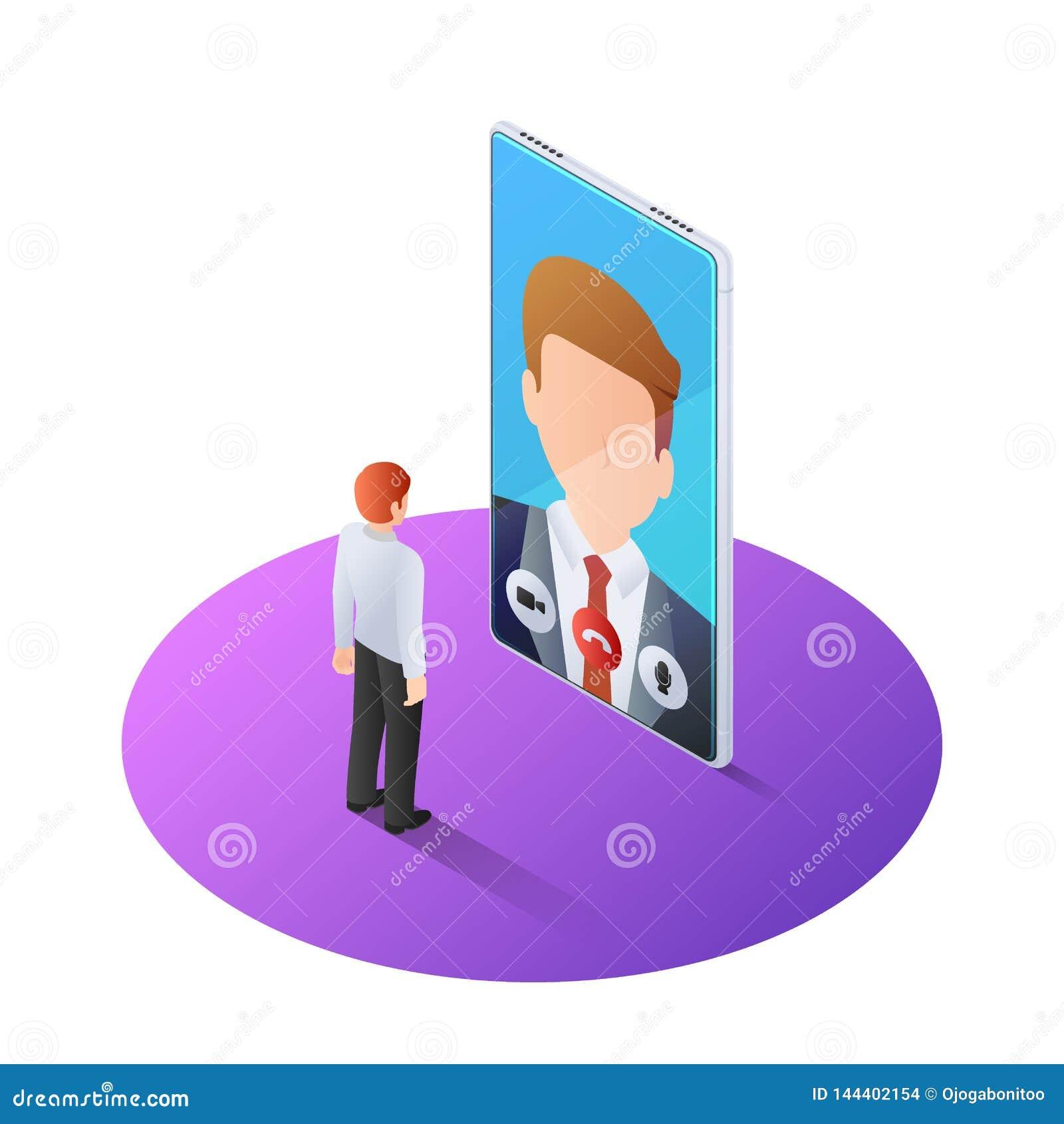 3d isometric biznesmen ma wideo wezwanie z szefem na smartphone