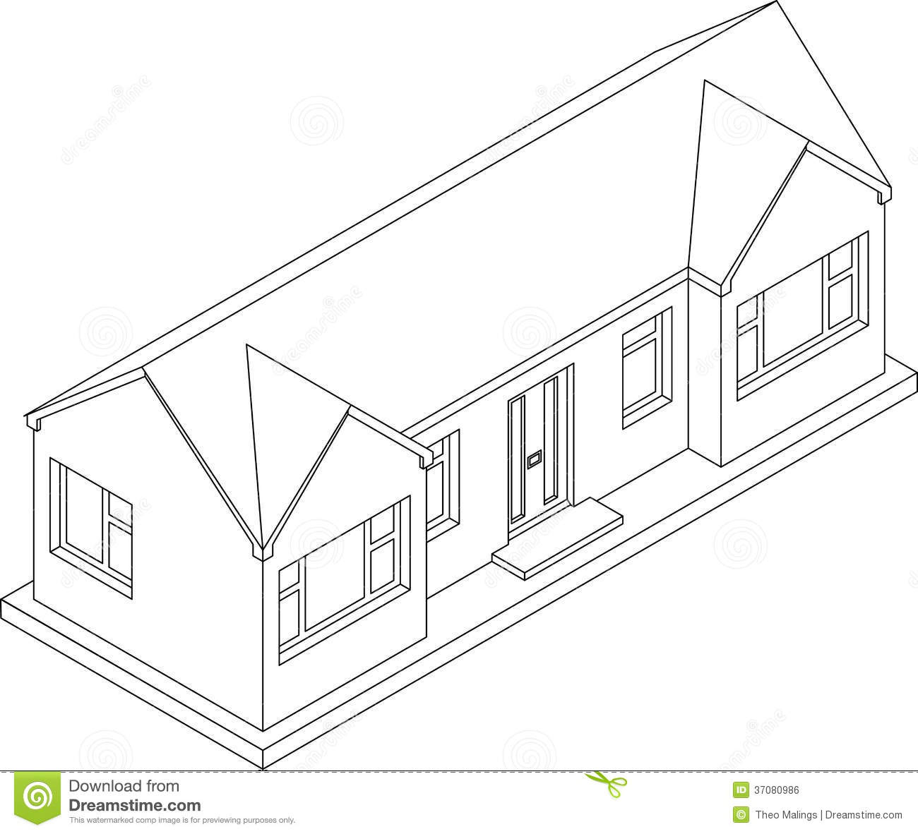 3d Isometric Bungalow Stock Illustration Image Of Linear